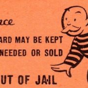 """Monopoly """"Get out of jail free"""" card"""