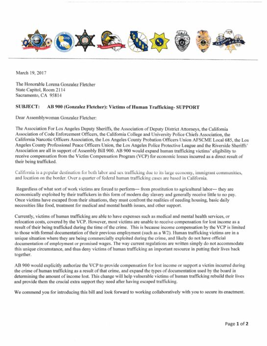 Letter in support of AB 900