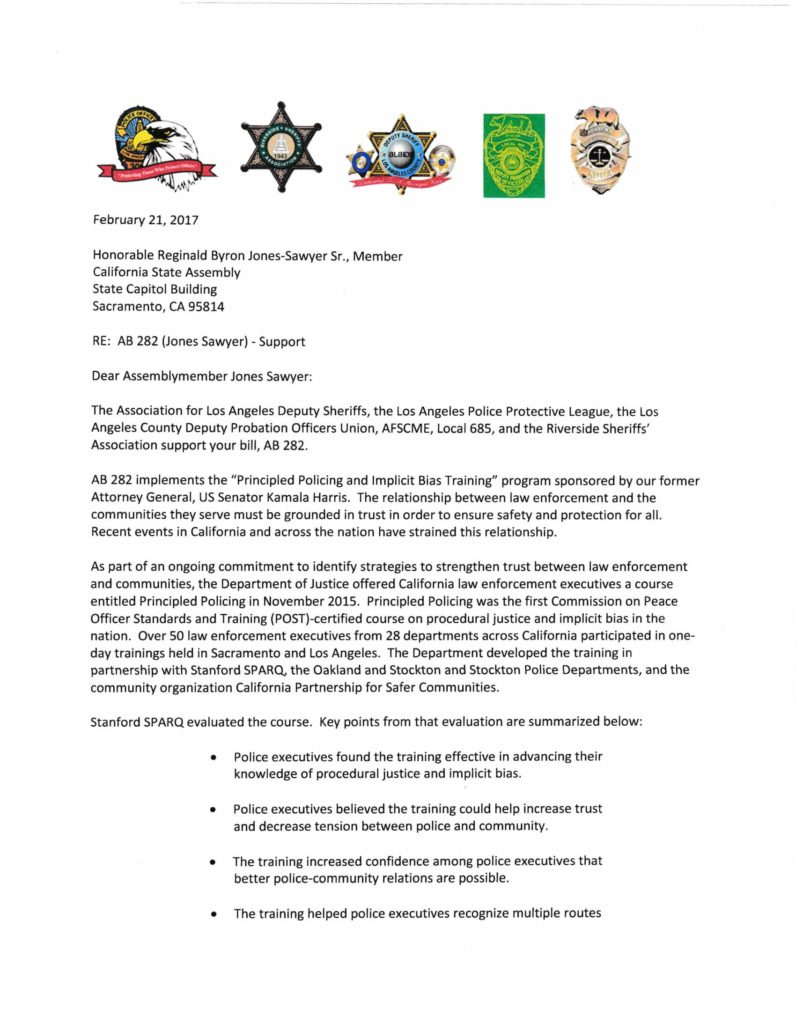 Graphic of a letter regarding AB 282