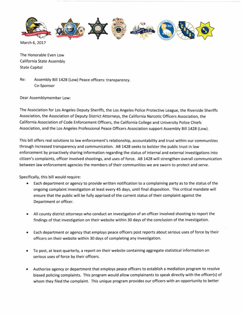 Letter in support of AB 1428
