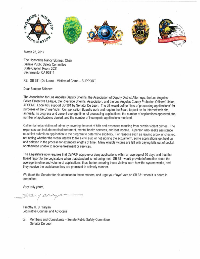 Letter in support of SB 381