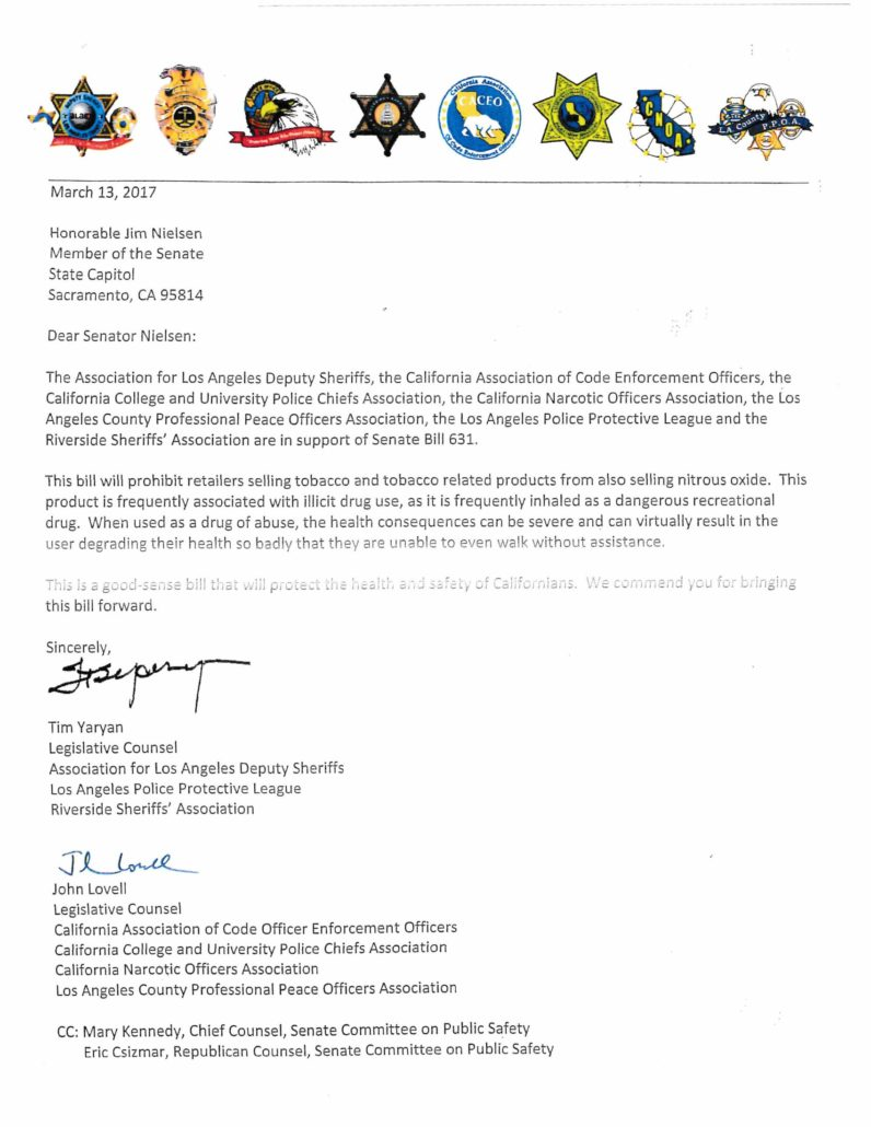 Letter in support of SB 631