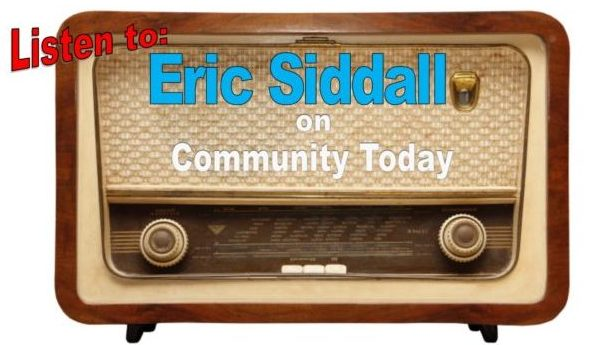 Infographic promoting Eric Siddall's appearance on a radio show